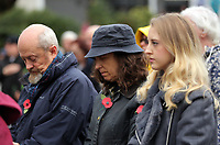 Pictured: People observe the two minute silence. Saturday 11 November 2017<br />