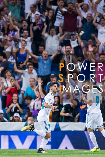 Marco Asensio Willemsen of Real Madrid celebrates scoring during their La Liga 2017-18 match between Real Madrid and Valencia CF at the Estadio Santiago Bernabeu on 27 August 2017 in Madrid, Spain. Photo by Diego Gonzalez / Power Sport Images