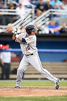 Mahoning Valley Scrappers shortstop Drake Roberts (16) at bat during a game against the Batavia Muckdogs on June 20, 2014 at Dwyer Stadium in Batavia, New York.  Batavia defeated Mahoning Valley 7-4.  (Mike Janes/Four Seam Images)