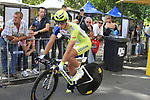 Peter Sagan (SVK) Liquigas-Cannondale waits to go during during the Prologue of the 99th edition of the Tour de France 2012, a 6.4km individual time trial starting in Parc d'Avroy, Liege, Belgium. 30th June 2012.<br /> (Photo by Eoin Clarke/NEWSFILE)