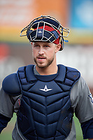 Lehigh Valley IronPigs catcher Logan Moore (35) during a game against the Buffalo Bisons on June 23, 2018 at Coca-Cola Field in Buffalo, New York.  Lehigh Valley defeated Buffalo 4-1.  (Mike Janes/Four Seam Images)