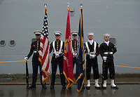 130504-N-DR144-056 ANCHORAGE, Alaska (May 4, 2013)- The color guard waits to parade the colors during the commissioning of San Antonio-class amphibious transport dock ship USS Anchorage (LPD 23) at the Port of Anchorage. More than 4,000 people gathered to witness the ship's commissioning in its namesake city of Anchorage, Alaska. Anchorage, the seventh San Antonio-class LPD, is the second ship to be named for the city and the first U.S. Navy ship to be commissioned in Alaska. (U.S. Navy photo by Mass Communication Specialist 1st Class James R. Evans / RELEASED)