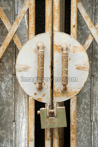 Asia, Vietnam, Hanoi. Hanoi old quarter. Shop door lock.