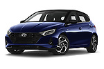 Stock pictures of low aggressive front three quarter view of 2021 Hyundai I20 Sky 5 Door Hatchback Low Aggressive