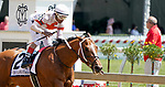 May 15, 2021: Mighty Mischief, #2, ridden by Ricardo Santana Jr. wins the Chick Lang Stakes on Preakness Stakes Day at Pimlico Race Course in Baltimore, Maryland. John Voorhees/Eclipse Sportswire/CSM