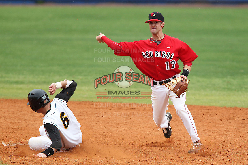 Illinois State Redbirds Brett Kay #17 during a game against the Iowa Hawkeyes at Chain of Lakes Stadium on March 11, 2012 in Winter Haven, Florida.  Illinois State defeated Iowa 10-6.  (Mike Janes/Four Seam Images)