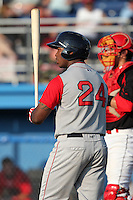 Lowell Spinners outfielder Brandon Jacobs (24) during a game vs. the Batavia Muckdogs at Dwyer Stadium in Batavia, New York July 14, 2010.   Batavia defeated Lowell 12-2.  Photo By Mike Janes/Four Seam Images