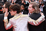 """Cannes Film Festival 2021. 74th edition of the 'Festival International du Film de Cannes' under Covid-19 outbreak on 12/07/2021 in Cannes, France. for the Guests for the screening of the film """"The French Dispatch"""" Adrien Brody,  Timothée Chalamet, Wes Anderson.<br /> © Pierre Teyssot / Maxppp"""