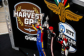 #1: Josef Newgarden, Team Penske Chevrolet celebrates winning the Bommarito Automotive Group 500 Race 1, #27: Alexander Rossi, Andretti Autosport Honda, #21: Rinus VeeKay, Ed Carpenter Racing Chevrolet