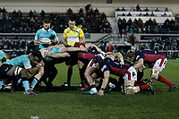 Both team scrum during the Greene King IPA Championship match between London Scottish Football Club and Nottingham Rugby at Richmond Athletic Ground, Richmond, United Kingdom on 7 February 2020. Photo by Carlton Myrie.