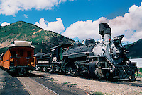 Durango & Silverton Narrow Gauge (D&SNG)Steam Locomotive # 480. A National Historic Landmark. Silverton, Colorado.