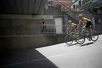 Nick van der Lijke (NLD/Team LottoNL-Jumbo) & Rick Flens (NLD/LottoNL-Jumbo) on their way to the start<br /> <br /> 2015 Giro<br /> st4: Chiavari - La Spezia (150km)