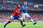 Daniel Carvajal (L) of Spain fights for the ball with Ciro Immobile (R) of Italy during their 2018 FIFA World Cup Russia Final Qualification Round 1 Group G match between Spain and Italy on 02 September 2017, at Santiago Bernabeu Stadium, in Madrid, Spain. Photo by Diego Gonzalez / Power Sport Images