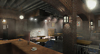 The 3D model I built of the interior of the Gaslight. It helped visualize the layout of the place.