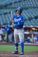 Kansas City Royals shortstop Jeison Guzman (1) at bat during an Instructional League game against the Arizona Diamondbacks at Chase Field on October 14, 2017 in Scottsdale, Arizona. (Zachary Lucy/Four Seam Images)