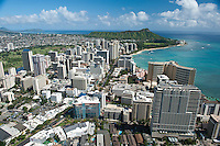 Waikiki aerial looking to Diamond Head with Trump Tower at lower left