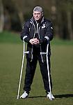 Ian Durrant on his crutches