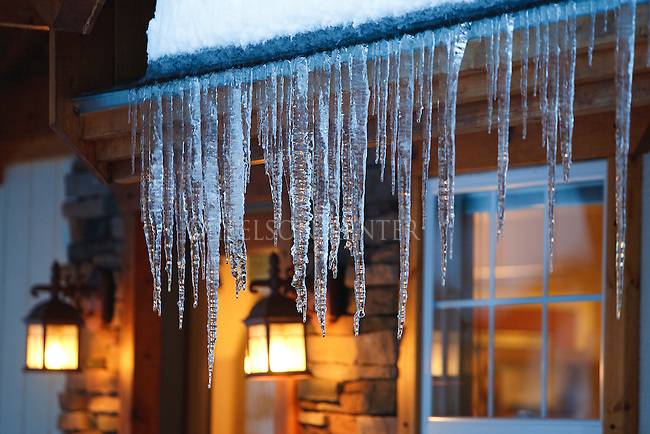 Icicles hanging from a lighted building in Missoula Montana