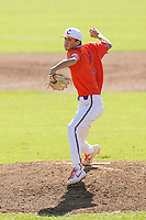Patrick Bott (2) of the Clemson Tigers delivers a pitch in a fall Orange-Purple intrasquad scrimmage on Saturday, November 14, 2020, at Doug Kingsmore Stadium in Clemson, South Carolina. (Tom Priddy/Four Seam Images)