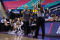 GREENSBORO, NC - MARCH 05: Head coach Nell Fortner of Georgia Tech argues with official Talisa Green during a game between Pitt and Georgia Tech at Greensboro Coliseum on March 05, 2020 in Greensboro, North Carolina.
