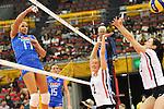 06.11.2010, Nippon Gaishi Hall, Nagoya, JPN, Volleyball Weltmeisterschaft Frauen 2010,  Deutschland ( GER ) vs. Italien ( ITA ), im Bild Simona Gioli (#17 ITA) - Kathleen Weiss (#2 GER), Christiane Fuerst (#11 GER). Foto © nph / Kurth