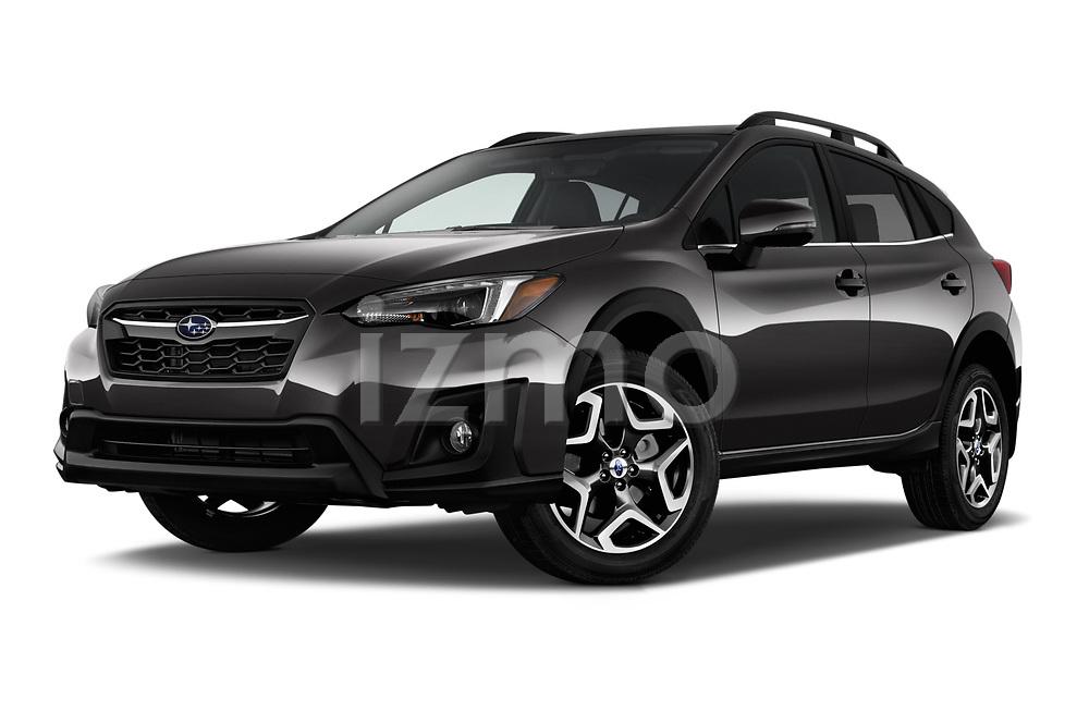 Stock pictures of low aggressive front three quarter view of a 2018 Subaru Crosstrek Limited CVT 5 Door SUV