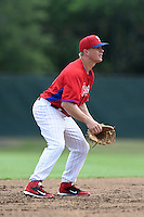GCL Phillies shortstop Matt Tolbert during a game against the GCL Pirates on June 26, 2014 at the Carpenter Complex in Clearwater, Florida.  GCL Phillies defeated the GCL Pirates 6-2.  (Mike Janes/Four Seam Images)