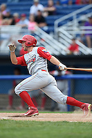 Williamsport Crosscutters outfielder Chase Harris (15) at bat during a game against the Batavia Muckdogs on July 27, 2014 at Dwyer Stadium in Batavia, New York.  Batavia defeated Williamsport 6-5.  (Mike Janes/Four Seam Images)