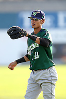 Jamestown Jammers shortstop Yefri Perez #13 during a game against the Batavia Muckdogs at Dwyer Stadium on June 27, 2011 in Batavia, New York.  Batavia defeated Jamestown 4-3.  (Mike Janes/Four Seam Images)