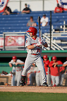 Auburn Doubledays Jake Alu (25) at bat during a NY-Penn League game against the Batavia Muckdogs on June 19, 2019 at Dwyer Stadium in Batavia, New York.  Auburn defeated Batavia 5-0 in the second game of a doubleheader.  (Mike Janes/Four Seam Images)