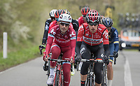 The early breakaway group with Bart De Clercq (BEL/Lotto-Soudal) at the helm<br /> <br /> 103rd Liège-Bastogne-Liège 2017 (1.UWT)<br /> One Day Race: Liège › Ans (258km)