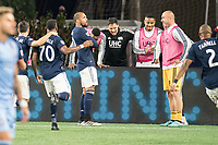 FOXBOROUGH, MA - SEPTEMBER 29: Maximiliano Moralez #10 of New York City FC celebrates his goal during a game between New York City FC and New England Revolution at Gillettes Stadium on September 29, 2019 in Foxborough, Massachusetts.