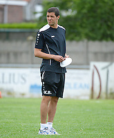 20150627 - Lauwe , BELGIUM : Kortrijk's assistant coach Karim Belhocine pictured during a friendly match between Belgian first division team KV Kortrijk and Belgian third division soccer team FC Izegem , during the preparations for the 2015-2016 season, Saturday 27th June 2015 in Lauwe. PHOTO DAVID CATRY