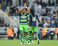 Ashley Williams of Swansea City applauds the fans after the final whistle during the Barclays Premier League match between Newcastle United and Swansea City played at St. James' Park, Newcastle upon Tyne, on the 16th April 2016