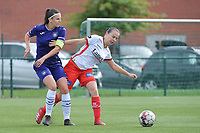 Anderlecht's defender Laura De Neve (L) and Zulte Waregem's forward Ulrike De Frere (R) pictured during a female soccer game between SV Zulte - Waregem and RSC Anderlecht Dames on the second matchday of the 2020 - 2021 season of Belgian Scooore Women s SuperLeague , saturday 5 th of September 2020  in Zulte , Belgium . PHOTO SPORTPIX.BE | SPP | DIRK VUYLSTEKE