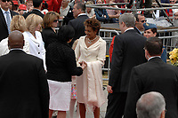 Ottawa (ON) CANADA, July 1st, 2007 -<br /> <br /> Michaelle Jean Governor General is greeted by Bev Oda (L) and Stephen Harper (R)<br />  near the Parliament during<br /> Canada day celebration in the national capital.<br /> photo : (c)  Michel Karpoff - Images Distribution