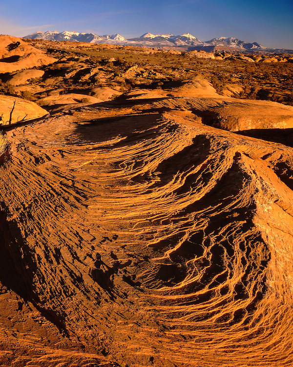 Sunset light on slick-rock formations below the La Sal Mountains; Arches National Park, UT
