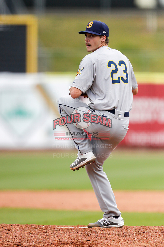 Montgomery Biscuits starting pitcher Caleb Sampen (23) delivers a pitch to the plate against the Tennessee Smokies on May 9, 2021, at Smokies Stadium in Kodak, Tennessee. (Danny Parker/Four Seam Images)