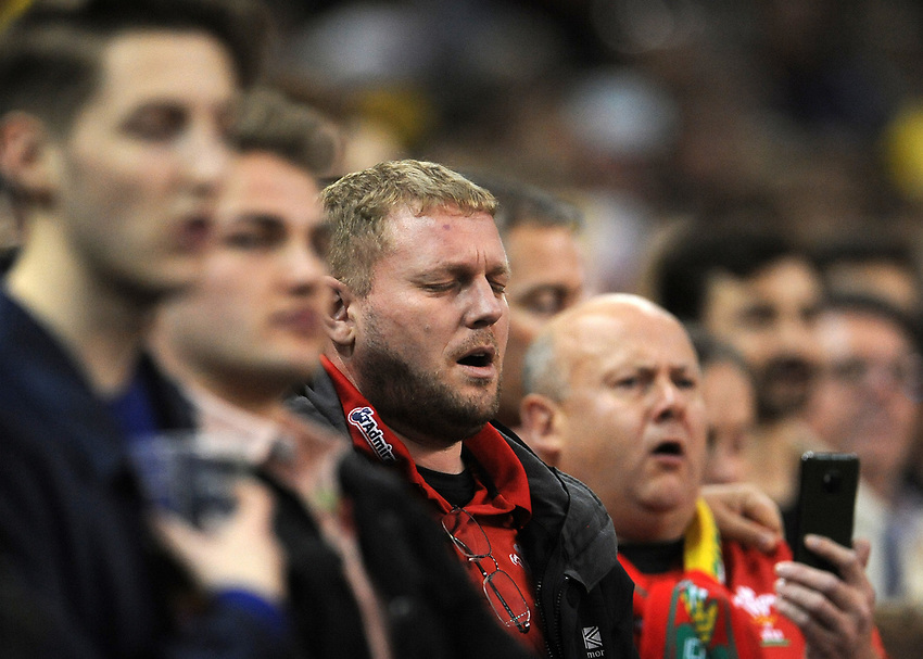 A welsh fan during the anthem<br /> <br /> Photographer Ian Cook/CameraSport<br /> <br /> Under Armour Series Autumn Internationals - Wales v Australia - Saturday 10th November 2018 - Principality Stadium - Cardiff<br /> <br /> World Copyright © 2018 CameraSport. All rights reserved. 43 Linden Ave. Countesthorpe. Leicester. England. LE8 5PG - Tel: +44 (0) 116 277 4147 - admin@camerasport.com - www.camerasport.com