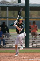 Oakland Athletics shortstop Nick Allen (1) at bat during a Minor League Spring Training game against the Chicago Cubs at Sloan Park on March 13, 2018 in Mesa, Arizona. (Zachary Lucy/Four Seam Images)