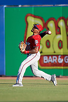 Fort Myers Miracle right fielder Jaylin Davis (24) throws the ball back in after making a catch during a game against the Dunedin Blue Jays on April 17, 2018 at Dunedin Stadium in Dunedin, Florida.  Dunedin defeated Fort Myers 5-2.  (Mike Janes/Four Seam Images)