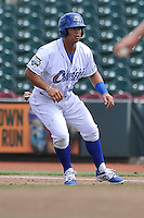 Cheslor Cuthbert #24 of the Omaha Storm Chasers leads off first base against the Las Vegas 51s at Werner Park on August 17, 2014 in Omaha, Nebraska. The Storm Chasers  won 4-0.   (Dennis Hubbard/Four Seam Images)