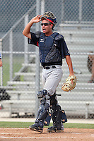 Minnesota Twins catcher Kelly Cross #7 during an Instructional League game against the Boston Red Sox at Red Sox Minor League Training Complex in Fort Myers, Florida;  October 3, 2011.  (Mike Janes/Four Seam Images)