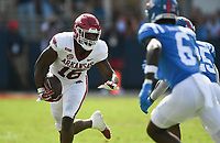 Arkansas wide receiver Treylon Burks (16) carries the ball, Saturday, October 9, 2021 during the fourth quarter of a football game at Vaught Hemingway Stadium in Oxford, Miss. Check out nwaonline.com/211010Daily/ for today's photo gallery. <br /> (NWA Democrat-Gazette/Charlie Kaijo)