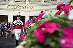 28 January 2012: Jockey Miguel Mena at Gulfstream Park in Hallandale Beach, FL.