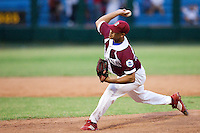 15 February 2009: Right pitcher Miguel Lahera of the Occidentales pitches during a training game of Cuba Baseball Team for the World Baseball Classic 2009. The national team is pitted against itself, divided in two teams called the Occidentales and the Orientales. The Orientales win 12-8, at the Latinoamericano stadium, in la Habana, Cuba.