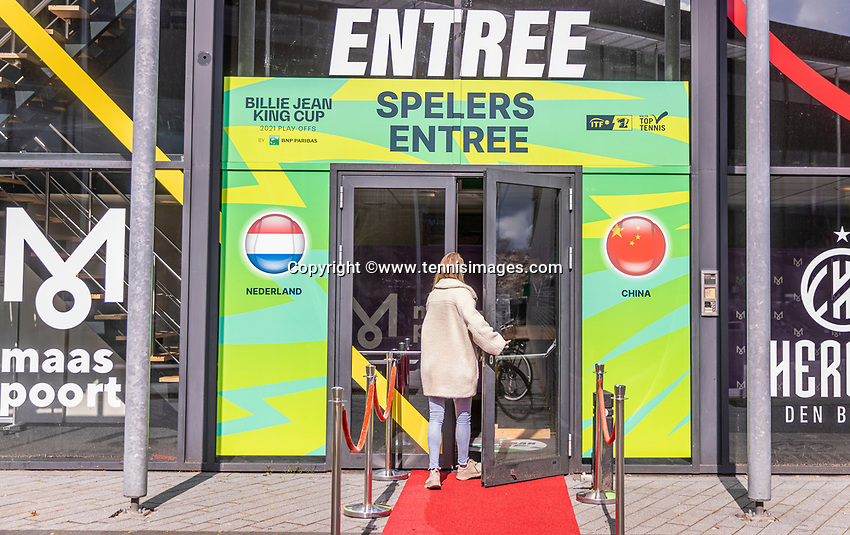 Den Bosch, The Netherlands, April 15, 2021,    Maaspoort, Billy Jean King Cup  Netherlands -  China : Entrance<br /> Photo: Tennisimages/Henk Koster
