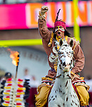 Osceola atop Renegade kicks off the game prior to the Florida State Seminoles defeating the Boston College Eagles 51-7 in their NCAA football game in Tallahassee, FL  Oct. 13, 2012.