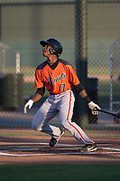 AZL Giants Orange center fielder Patrick Hilson (17) follows through on his swing during an Arizona League game against the AZL Athletics at Lew Wolff Training Complex on June 25, 2018 in Mesa, Arizona. AZL Giants Orange defeated the AZL Athletics 7-5. (Zachary Lucy/Four Seam Images)