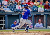 7 March 2019: New York Mets infielder Dilson Herrera hits a double in the 7th inning of a Spring Training Game against the Washington Nationals at the Ballpark of the Palm Beaches in West Palm Beach, Florida. The Nationals defeated the visiting Mets 6-4 in Grapefruit League, pre-season play. Mandatory Credit: Ed Wolfstein Photo *** RAW (NEF) Image File Available ***